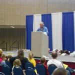 reed speaking at kids fishing show